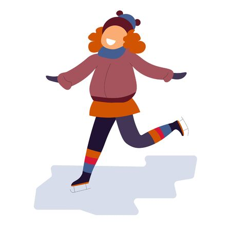 Redhead girl skating on ice rink cheerfully. Wearing warm red colored clothes and beanie hat. Enjoying winter holiday season vacation, play time outdoors. Vector illustration, white background. Illusztráció