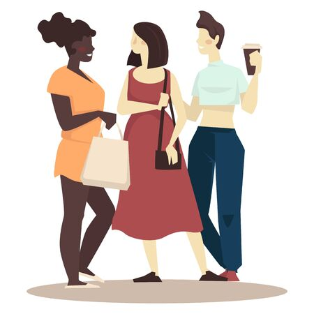 Girlfriends meet for shopping day and spend time together Çizim