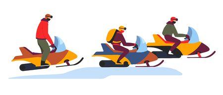 Tour de motoneige sur les pentes enneigées d'hiver sur blanc
