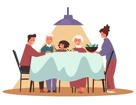 Thanksgiving and Christmas family dinner with three generations sitting together