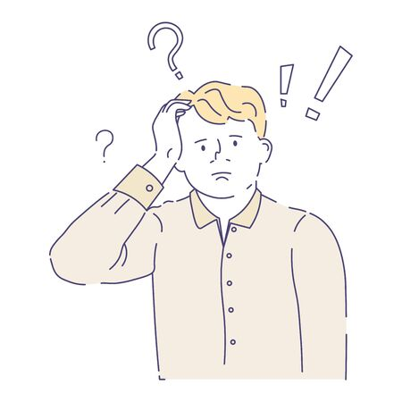 Person having doubts, doubtful, scratching his head, confused with worried look, question and exclamation marks above, colorful doodle sketch illustration on white background