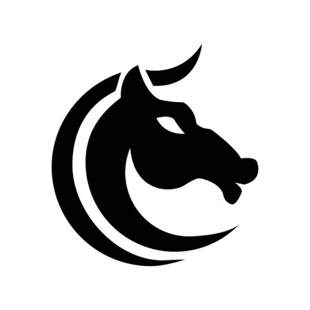 Horse c shaped stylized graphic black and white design