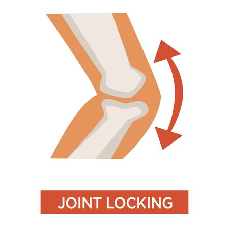 Knee joint locking arthritic health issue concept