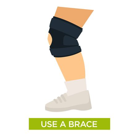 Use a knee brace for support during training or after injury, surgery to speed up healing, trauma preventive tip, health themed isolated colorful flat vector illustration on white background and text
