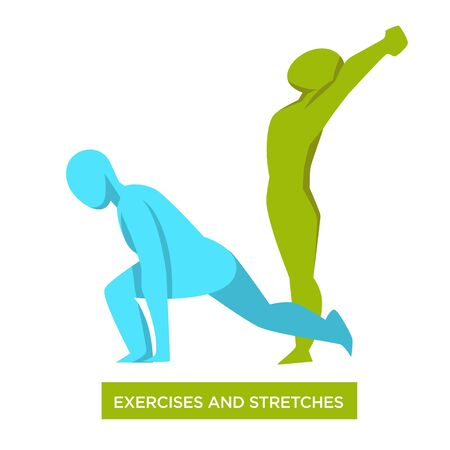 Exercises, stretches concept with one fit body silhouette doing lunge, second standing tall and stretching, physical health and fitness routine, colorful flat vector illustration on white background