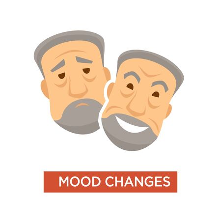 Mood changes and swings symptom in person or patient Иллюстрация