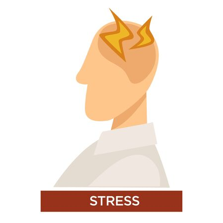 Stress symptom with pain lightning signs on the head of a person Иллюстрация