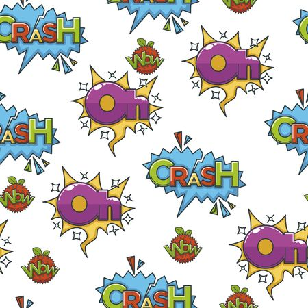Speech bubble with exclamations for comics colourful seamless pattern
