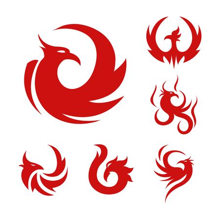 Phoenix bird stylized graphic red logo set of six Çizim