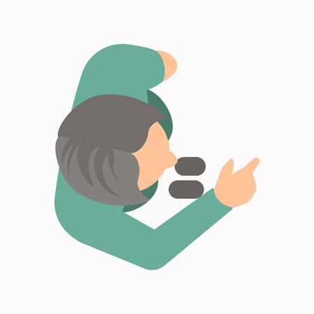 View from above of a person talking and pointing with a hand gesture