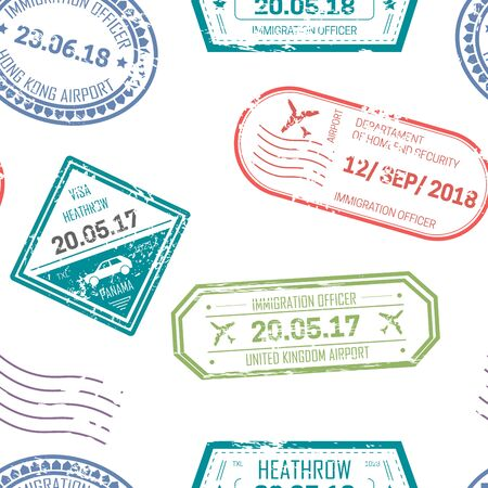 Visa and passport stamps upon departure and arrival with dates Çizim