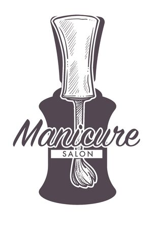 Manicure salon hand drawn sketch logo with close up of nail lacquer