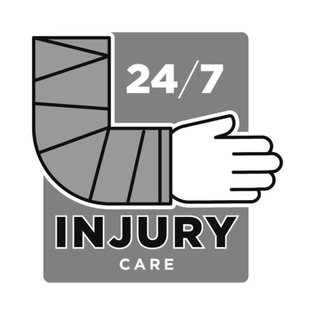 Injury care emergency medical service centre grey and white graphic logo with hand in bandage Çizim