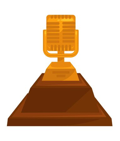 Music award vintage golden microphone trophy with stand Иллюстрация
