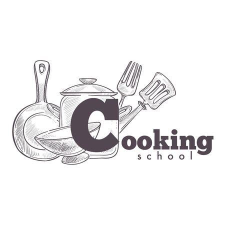 Cooking school vintage hand drawn sketch logo with utensil