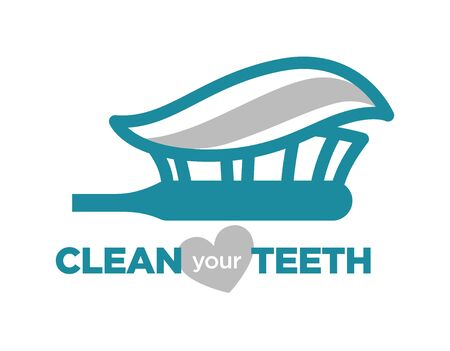 Clean your teeth turquoise with toothpaste and brush stomatology logo illustration