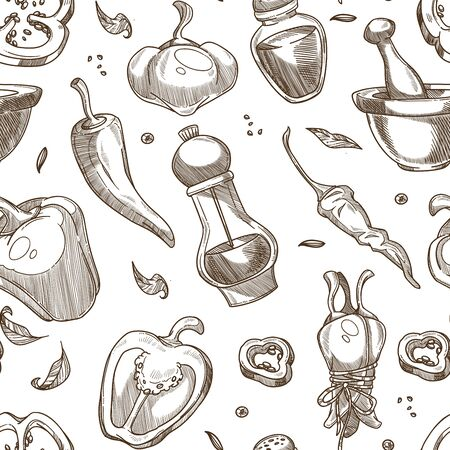 Pepper in various forms, raw, cut, spice stone grinder and mill monochrome pattern, hand drawn sketch, flat concept vector illustration on white background