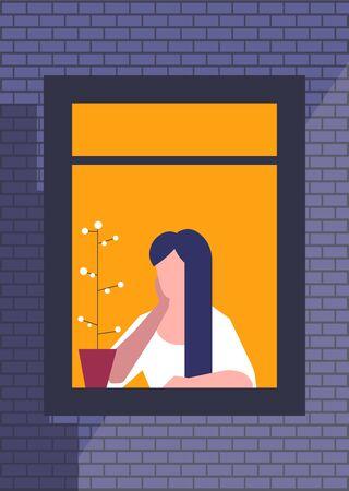 Femme brune assise et regardant par la fenêtre avec une plante dans un pot à proximité Vecteurs