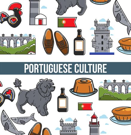 Portuguese culture seamless pattern poster with famous landmarks and country symbols