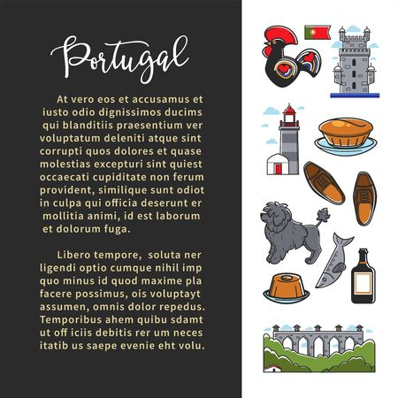 Portugal culture banner template with famous landmarks and text
