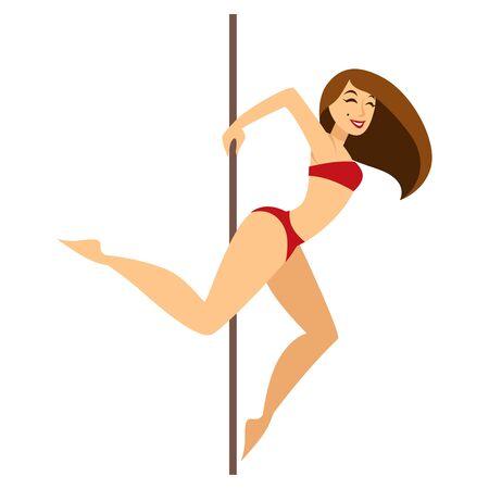 Pole dancer performing a striptease in red bikini
