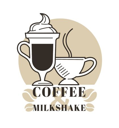 Tall glass mug of latte milkshake and a steamy cup for coffee and milkshake logo