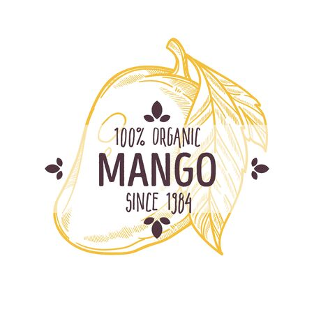 100 percent organic mango label with whole tropical fruit for all natural food packaging design Çizim