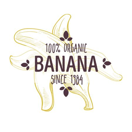 100 percent organic banana label with peeled tropical fruit for all natural food packaging design Çizim
