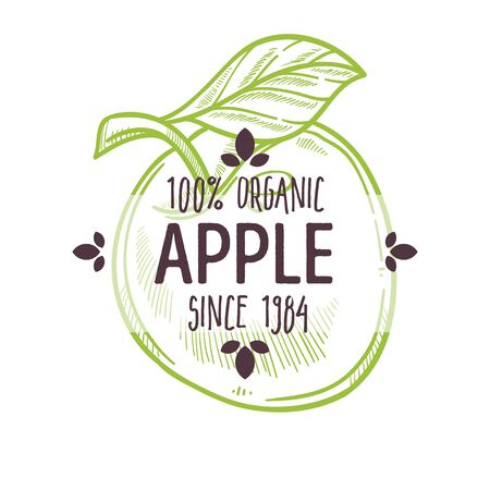 100 percent organic apple label with whole ripe fruit for all natural food packaging design