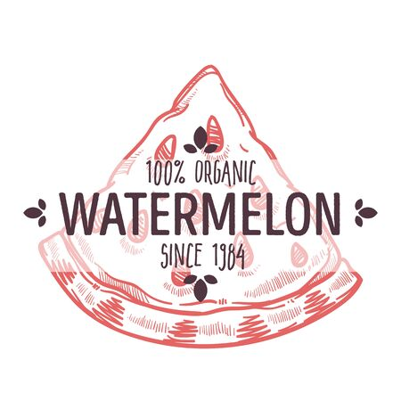 100 percent organic watermelon label with slice of ripe juicy fruit for all natural food packaging design
