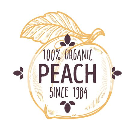 100 percent organic peach label with whole ripe juicy fruit for all natural food packaging design