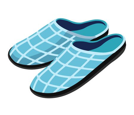 Cosy house slippers in light blue gingham print textile Illustration