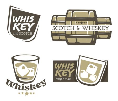 Whiskey brewed and aged in casks and scotch graphic logo