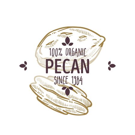 100 percent organic pecan nut shelled and cracked open label for all natural food packaging design