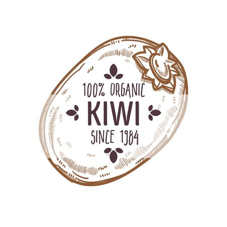 100 percent organic kiwi label with whole tropical fruit for all natural food packaging design