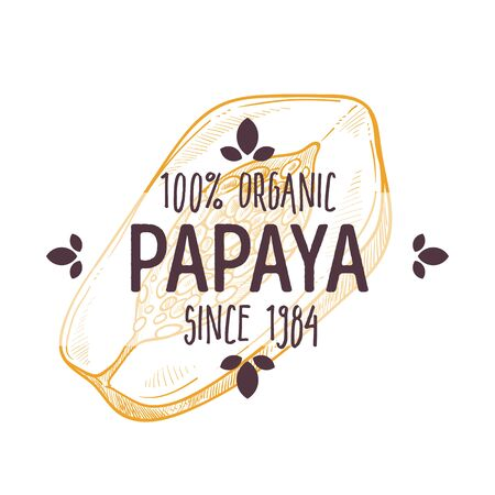 100 percent organic papaya label with sliced tropical fruit for all natural food packaging design