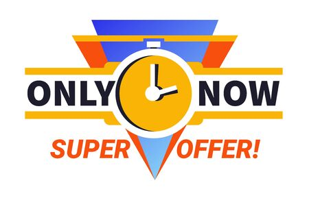 Only now super offer limited time sale promotional ad banner with clocks