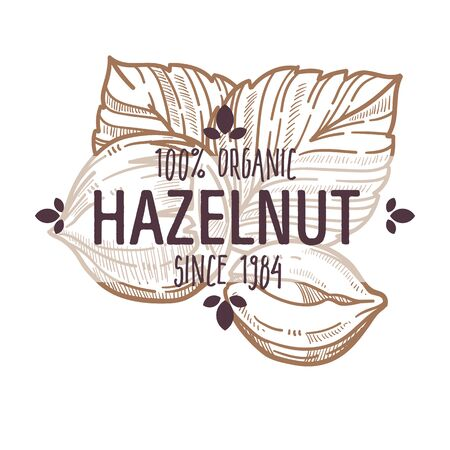 100 percent organic hazelnut in shell and cracked open label for all natural food packaging design