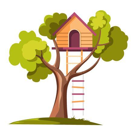 Tree house with rope ladder on daylight Çizim