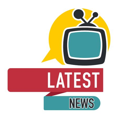 Latest news press media logo with speech bubble and television set icon, tv newsflash streaming live, broadcasting report, sticker design, banner, graphic flat vector illustration on white background Çizim