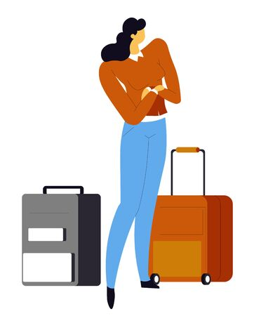 Waiting for flight traveler, woman with suitcases on wheels, airport, isolated character vector. Plane passenger, proceeding to gate, baggage or luggage. Girl going on summer vacation or holidays