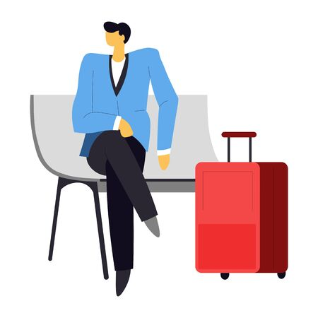 Traveling and tourism, man waiting for flight or business trip on bench vector. Isolated male character, businessman with suitcase, baggage or luggage. Airport plane passenger in suit, waiting room