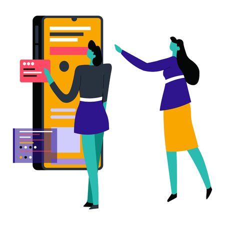 Frauen mit Smartphone oder Gadget-Box zum Einkaufen