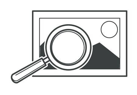 Imagen estándar y herramienta de aumento, vector de imagen de ampliación Ilustración de vector