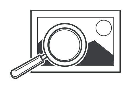 Standard picture and magnifying tool, enlarging image vector