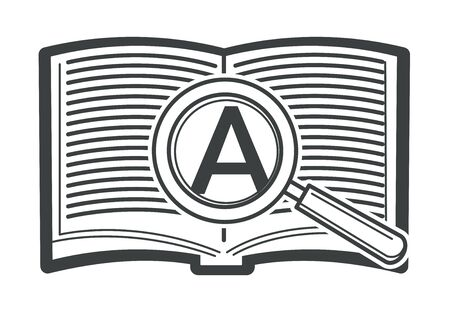 Open book with magnifying glass and zoomed letter