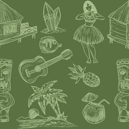 Hawaii seamless pattern with symbols and cultural signs Ilustracja