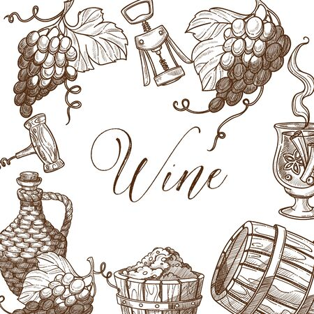 Wine frame sketch vector banner template design. Stockfoto - 132096343