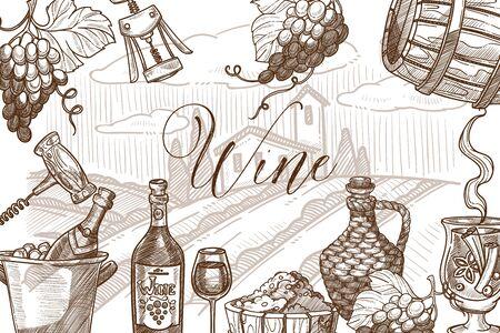 Wine frame sketch vector banner template design. Stockfoto - 132096338