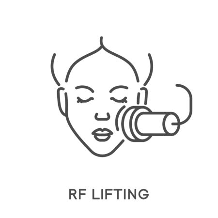 Woman face rf lifting, beauty procedure and rejuvenation isolated icon